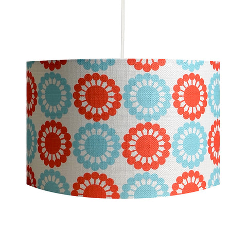 Martha's Flowers Red/Blue Lampshade