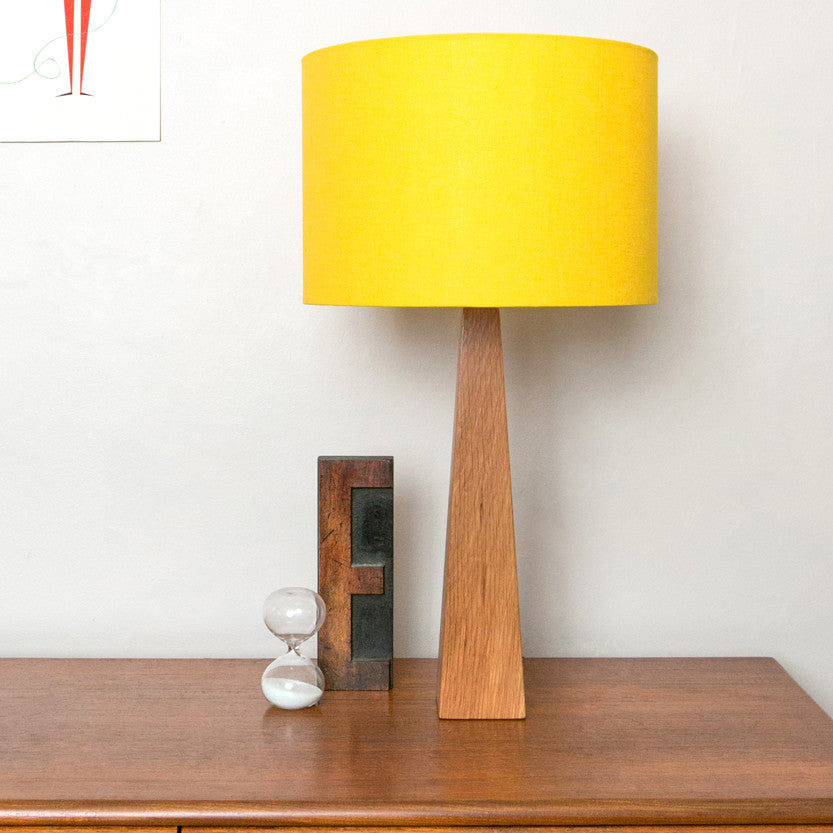 Bright yellow wooden table lamp hunkydory home yellow table lamp aloadofball Images