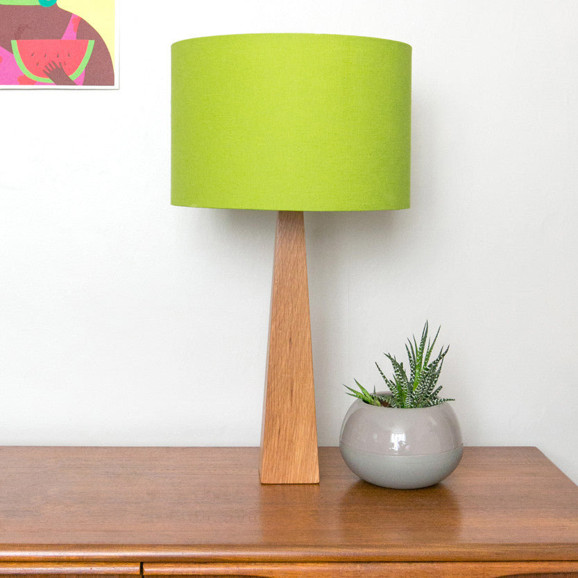 Lime green wooden contemporary handmade table lamp hunkydory home mozeypictures