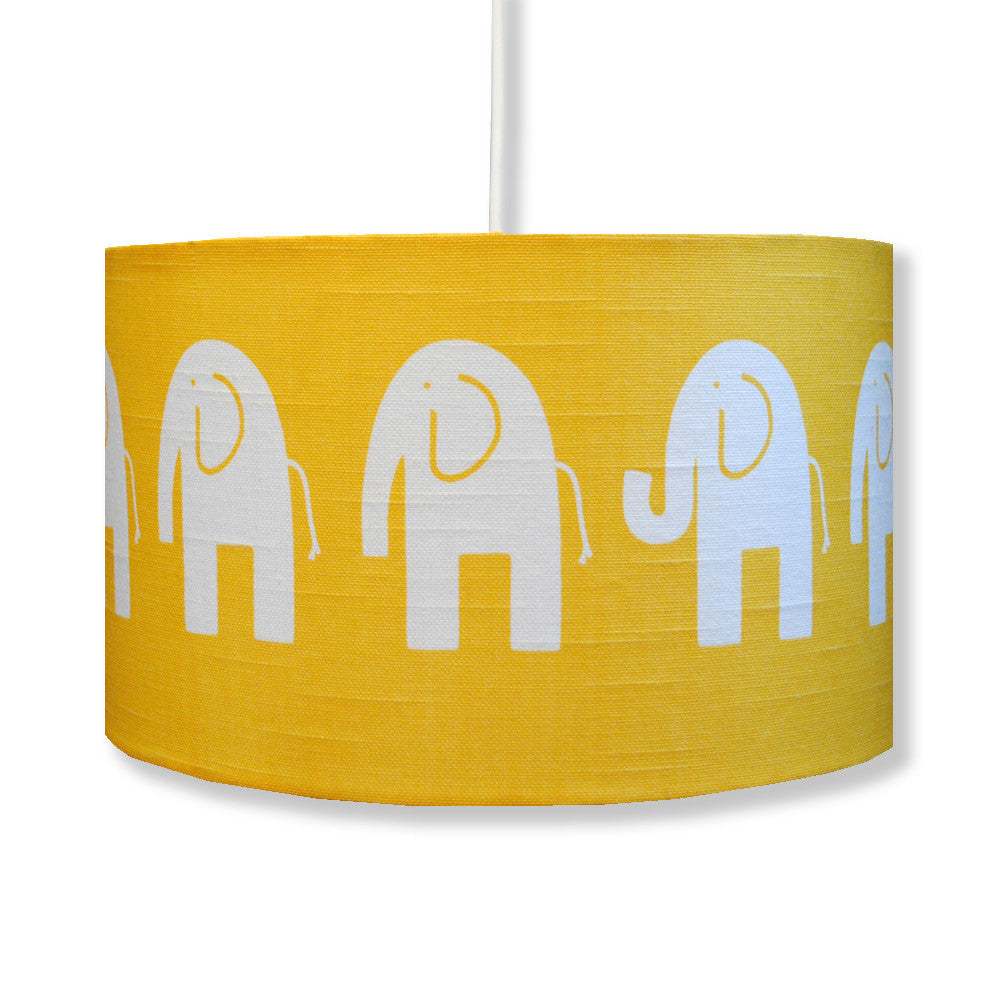 Yellow Elephant Funky Childrens Drum Lamp Shade – hunkydory home