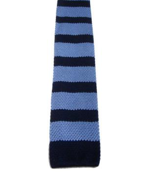 Navy Striped Light Blue Knitted Silk Tie - regimentalshop.com
