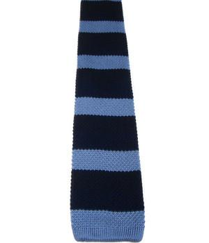 Light Blue Striped Navy Knitted Silk Tie - regimentalshop.com