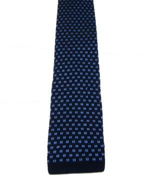 Light Blue Squares on Navy Knitted Silk Tie
