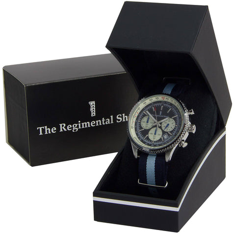 Navy & Sky Blue Military Chronograph Watch