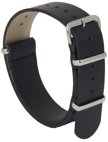 Real Black Leather G10 Watchstrap
