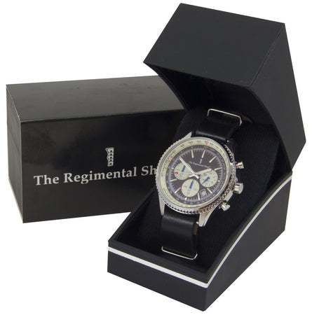 Military Chronograph Watch with Black Leather Strap - regimentalshop.com