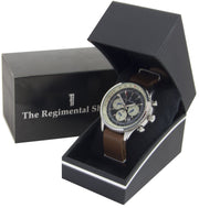 Military Chronograph Watch with Brown Leather Strap - regimentalshop.com