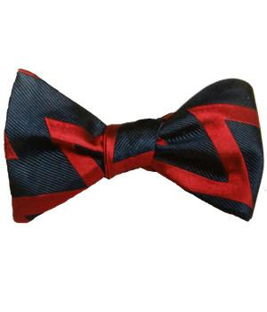 "Royal Artillery Silk ""Zig Zag"" (Self Tie) Bow Tie - regimentalshop.com"