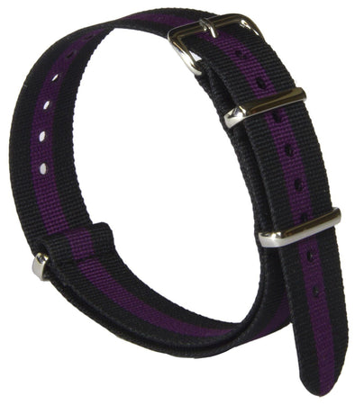 Black and Purple Striped G10 Watch Strap