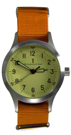 """Decade"" Military Watch with Orange Strap"
