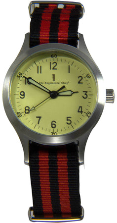 """Decade"" Military Watch with Red and Black striped Strap"