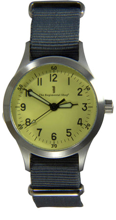 """Decade"" Military Watch with blue-grey strap"
