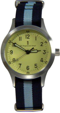 """Decade"" Military Watch with blue striped strap"
