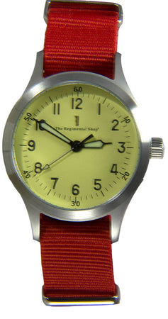 """Decade"" Military Watch with Red Strap"