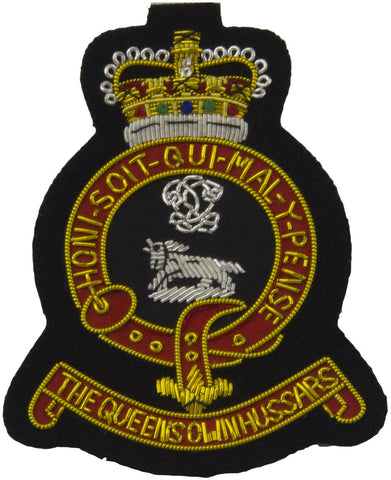 Queen's Own Hussars (Scroll) Blazer Badge - regimentalshop.com