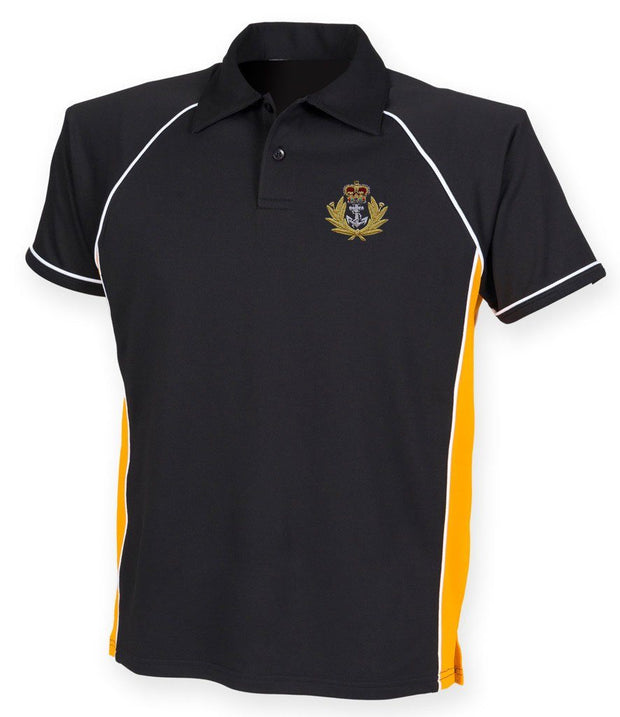Royal Navy - Sports Polo Shirt -Medium - Black/Yellow - regimentalshop.com