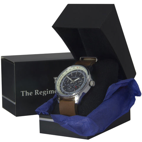 Military Multi Dial Watch with Brown Leather Strap - regimentalshop.com