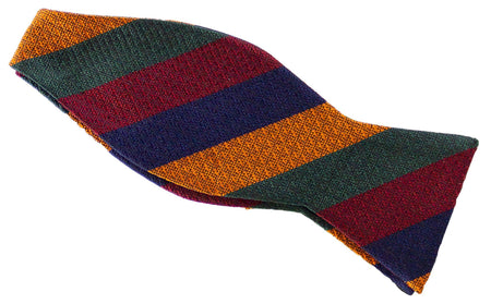 Duke of Lancaster's Regiment Silk Non Crease Self Tie Bow Tie - (NEW Stripe) - regimentalshop.com