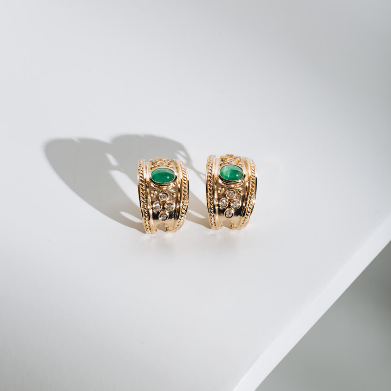PRE-OWNED 14KYG EMERALD AND DIAMOND EARRINGS