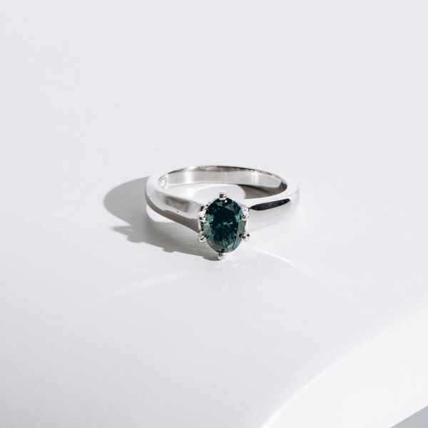PRE-OWNED TREATED GREENISH-BLUE DIAMOND RING
