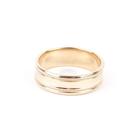 PRE-OWNED 14K YELLOW GOLD MILGRAIN WEDDING BAND