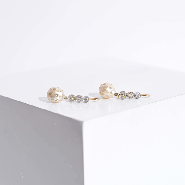 Pre-Owned Pearl and Diamond Drop Earrings