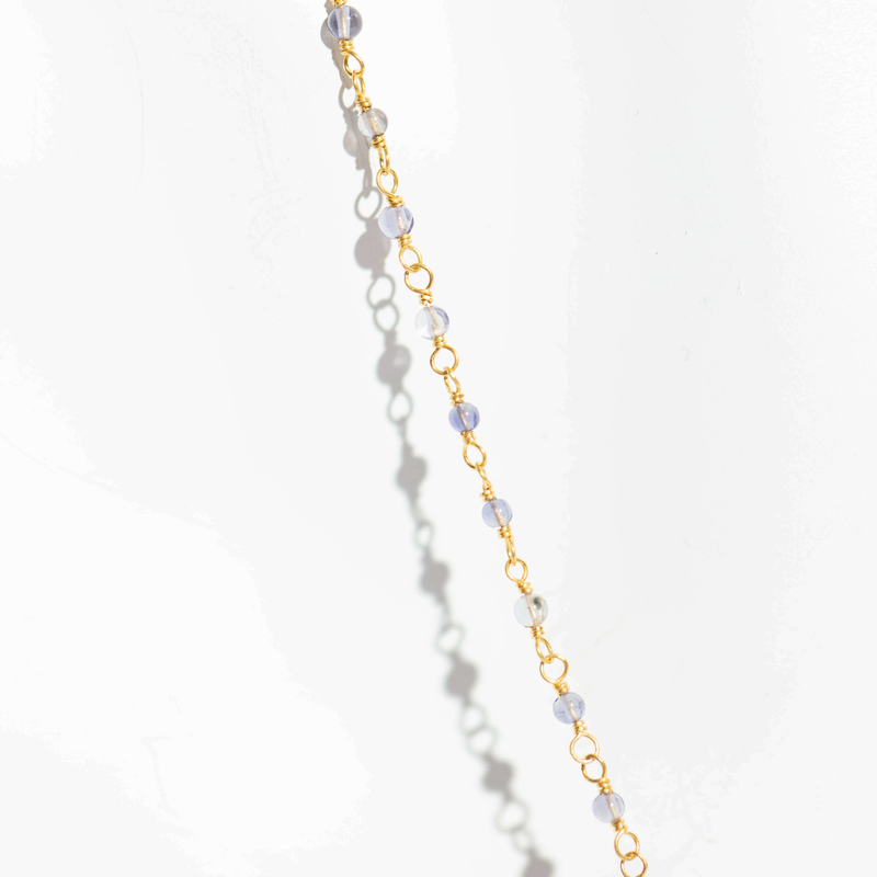Pre-Owned Citrine Heart and Sapphire Bead Necklace