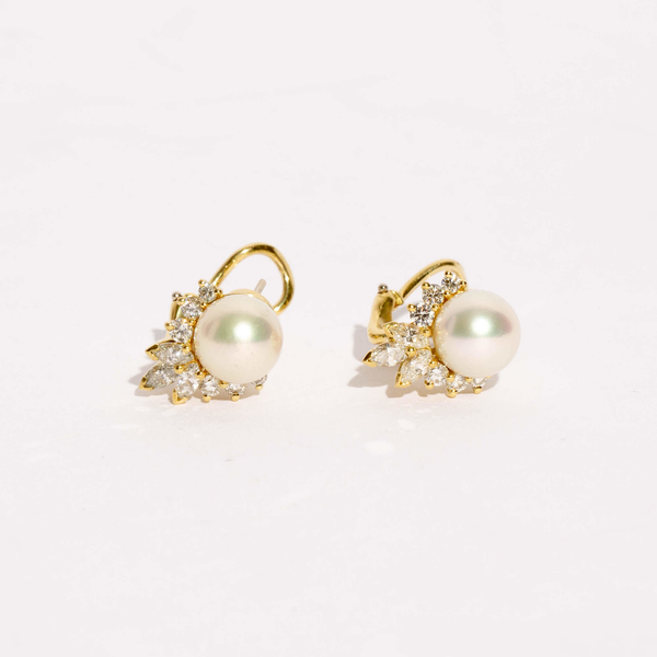 Pre-Owned Pearl and Diamond Earrings