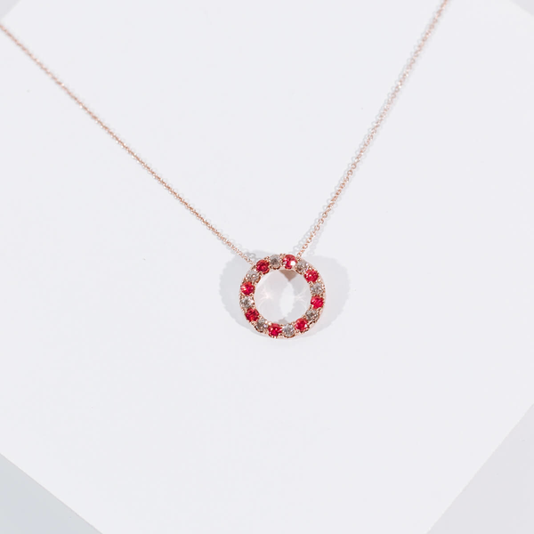 PRE-OWNED RUBY AND DIAMOND CIRCLE PENDANT