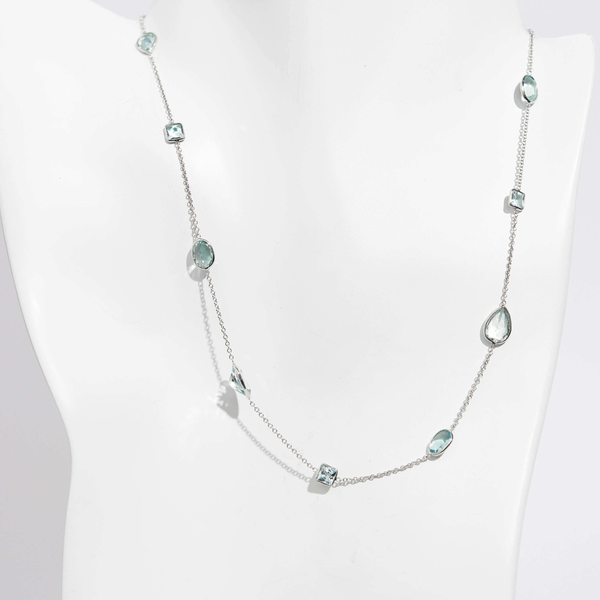 Pre-Owned Aquamarine Station Necklace