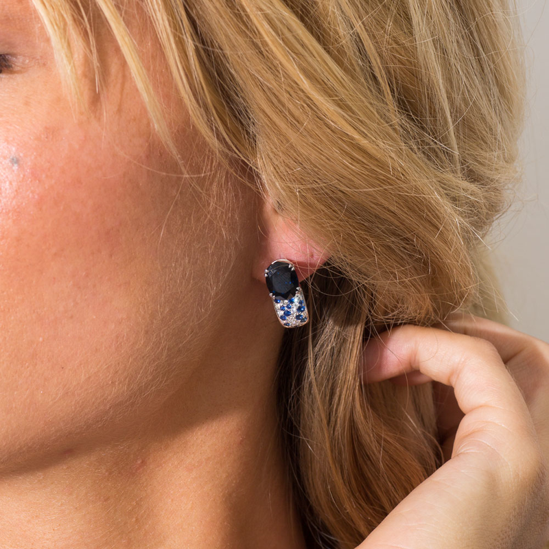 PRE-OWNED BLUE SAPPHIRE AND DIAMOND EARRINGS