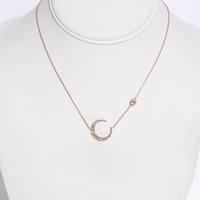 Pre-Owned Diamond Crescent Necklace