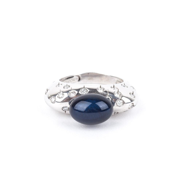 Pre-Owned Blue Enamel and Diamond Ring