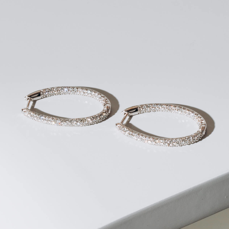 PRE-OWNED DIAMOND OVAL EARRINGS