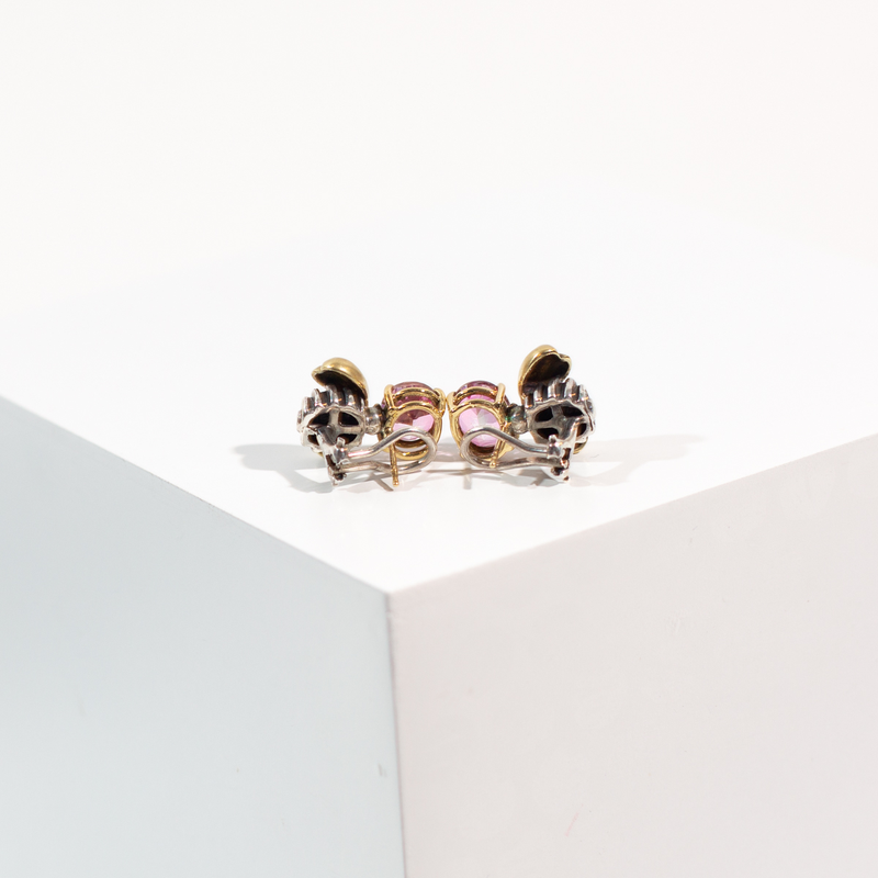 PRE-OWNED PINK TOURMALINE BEE EARRINGS