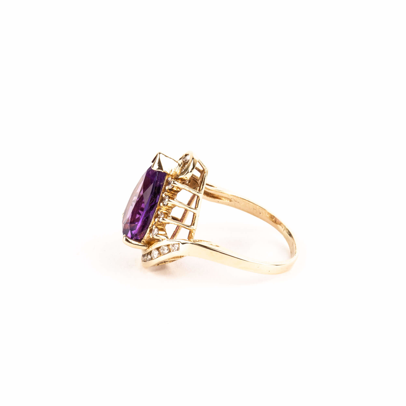 Pre-Owned Amethyst and Diamond Ring