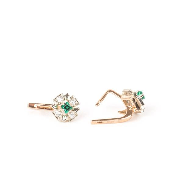 Pre-Owned Synthetic Emerald and Moissanite Earrings