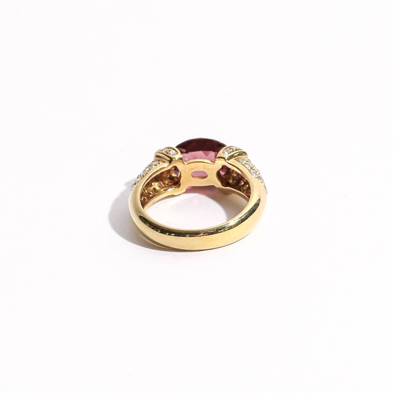 Pre-Owned Garnet and Diamond Ring