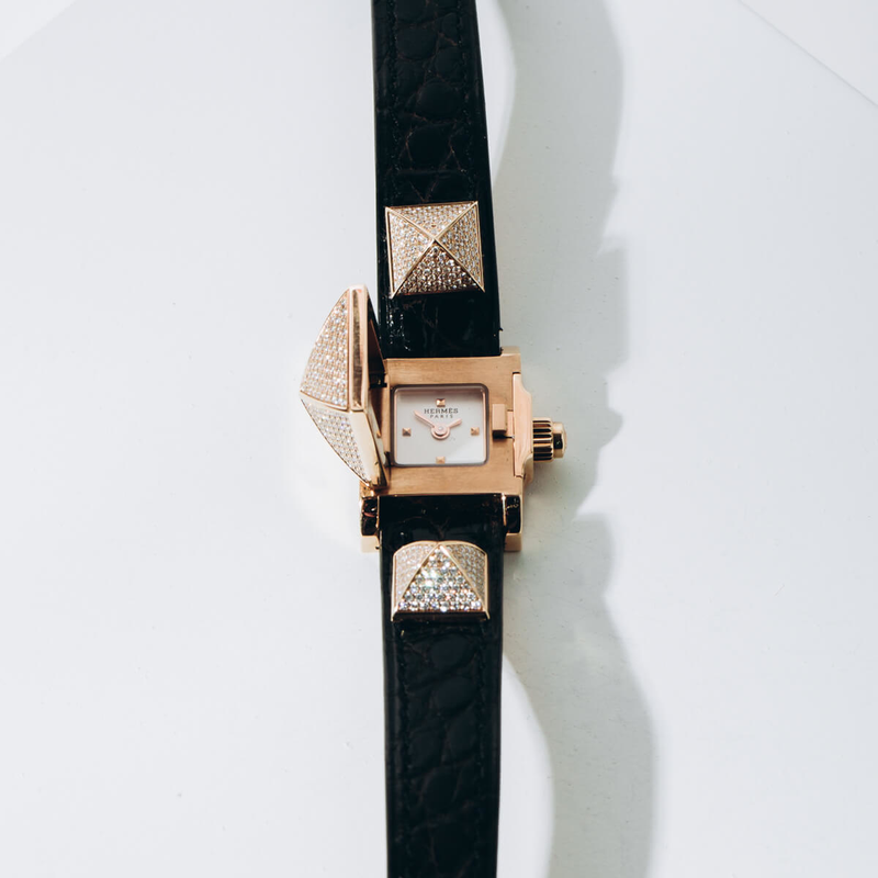 Pre-Owned Hermes of Paris Medor Mini Diamond Watch