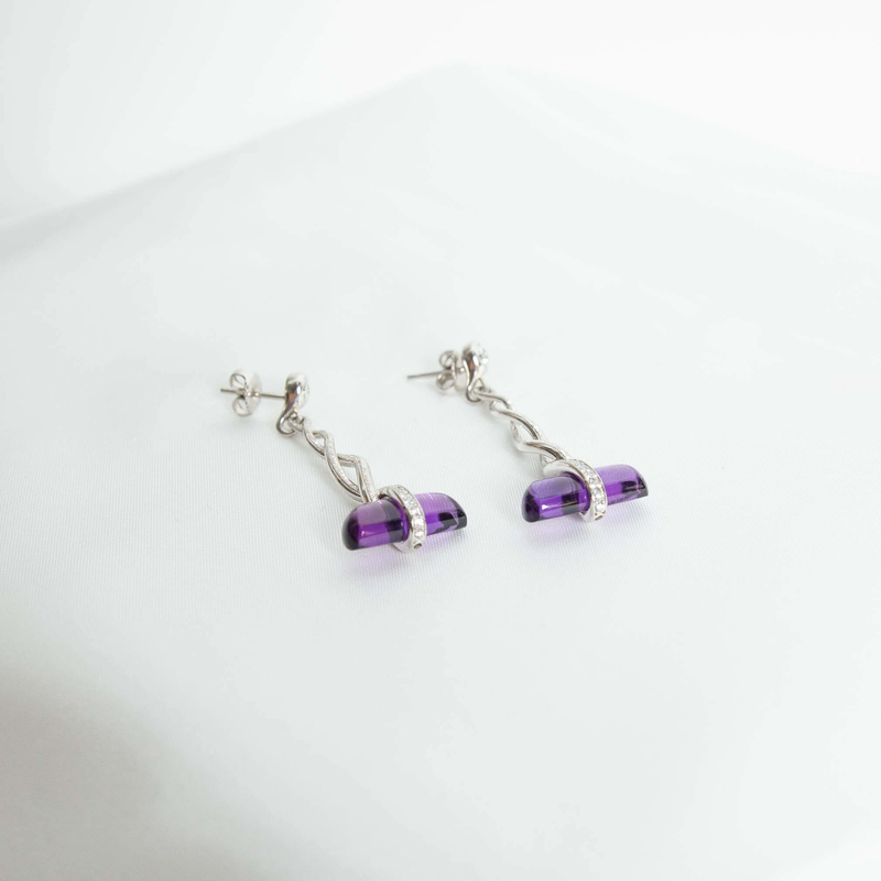 Pre-Owned Bondanza Amethyst and Diamond Drop Earrings