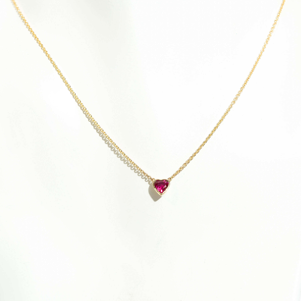 Pre-Owned Heart Shaped Ruby Necklace