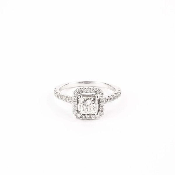 Pre-Owned Princess Cut Diamond Halo Ring