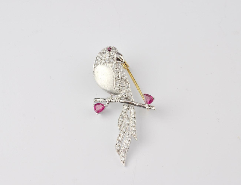 DIAMOND AND RUBY BIRD PIN
