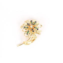 Emerald, sapphire and diamond flower pin