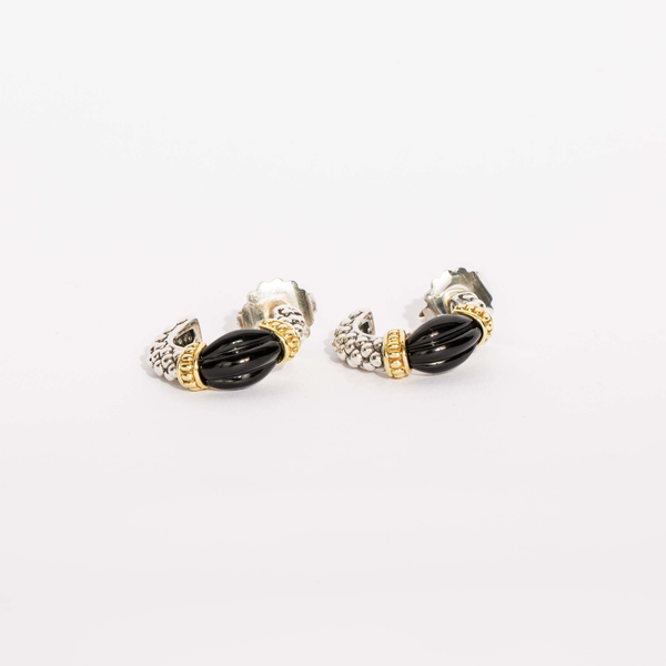 Pre-Owned Lagos Black Onyx Fluted Hoop Earrings