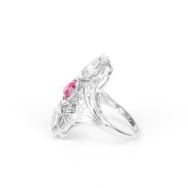 Ladies Synthetic Ruby and Diamond Ring