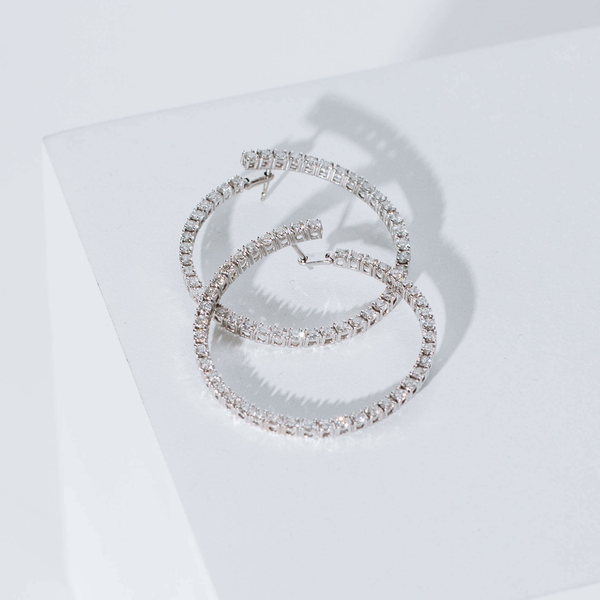 Pre-Owned Diamond Hoop Earrings