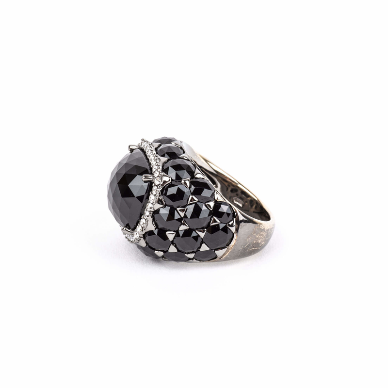 Pre-Owned Crivelli Black Onyx and Diamond Ring