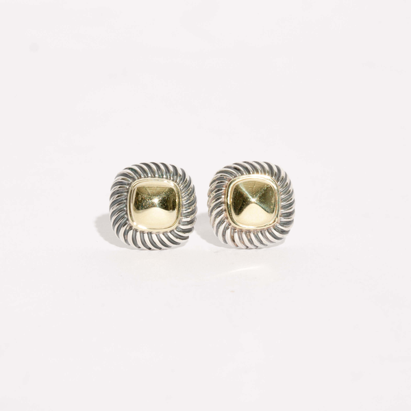 Pre-Owned David Yurman Gold Dome Cable Stud Earrings