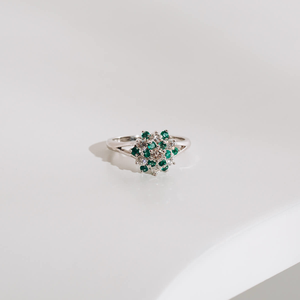 Pre-owned Emerald and Diamond Cluster Ring